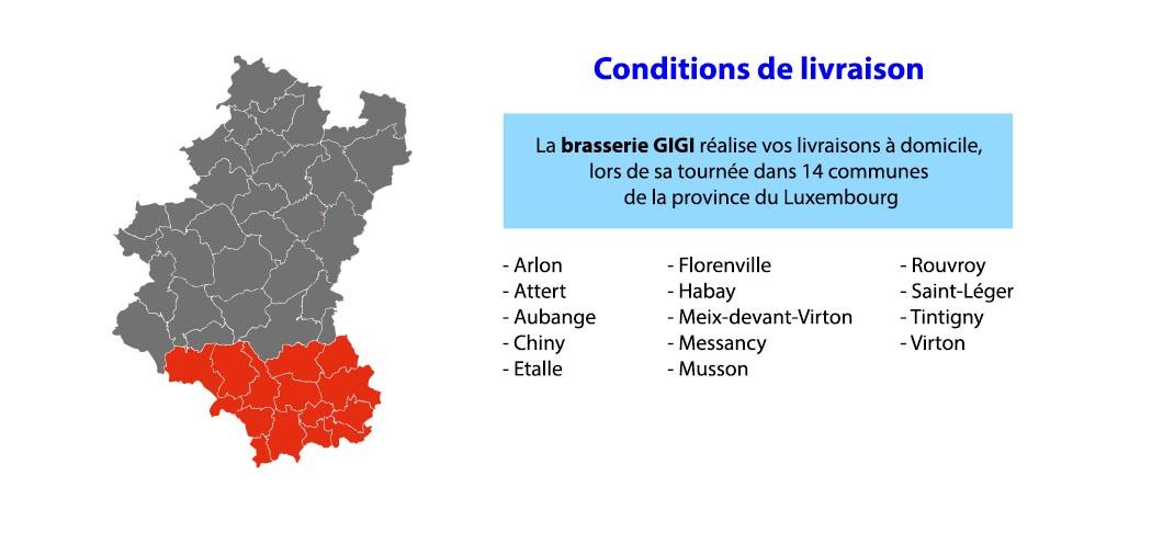 Information condition de livraison brasseur province Luxembourg